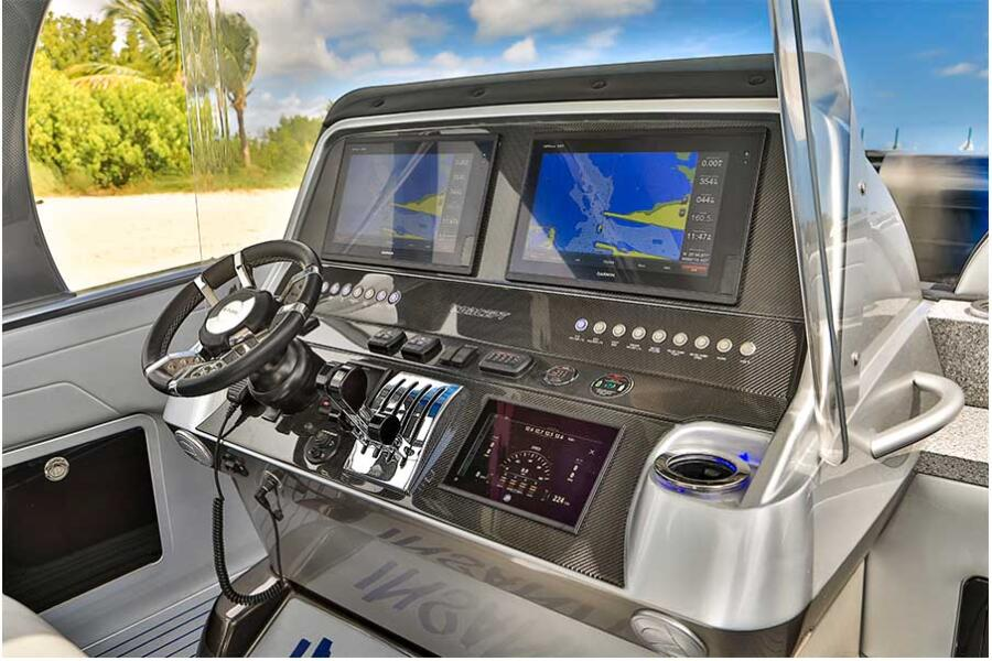 Helm Station: <p>The console on the 44 is wide enough for two 16