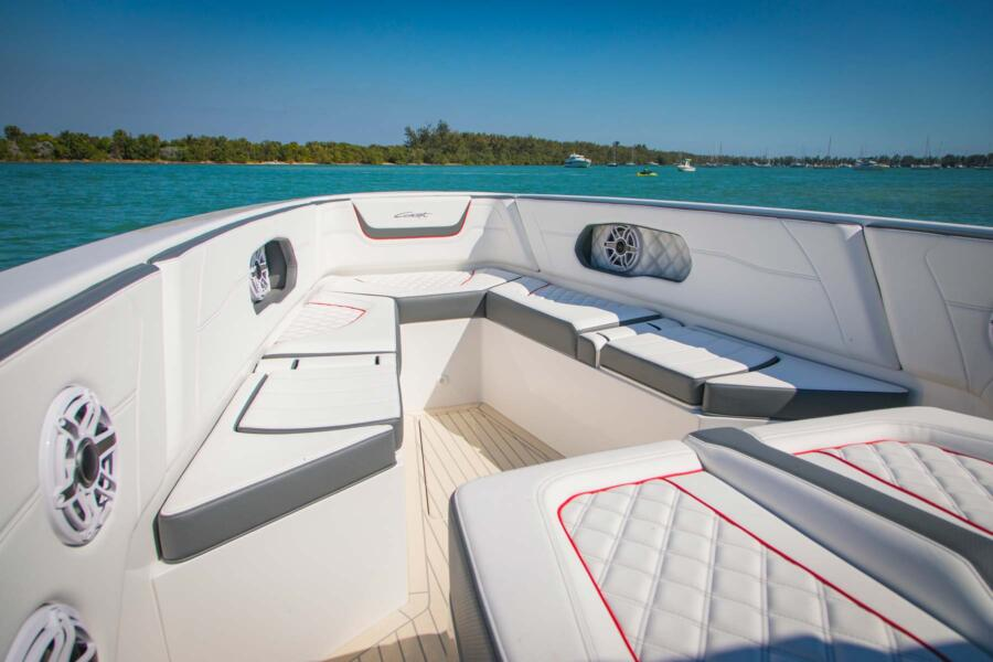 Sun & Shade: <p>The 44 Open Deck offers plenty of seating to soak up the rays with optional sun shades available for those summer days.</p>